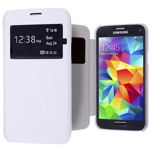 Ally Galaxy S5 Mini Şeffaf Kapaklı Pencereli Flip Cover Kılıf