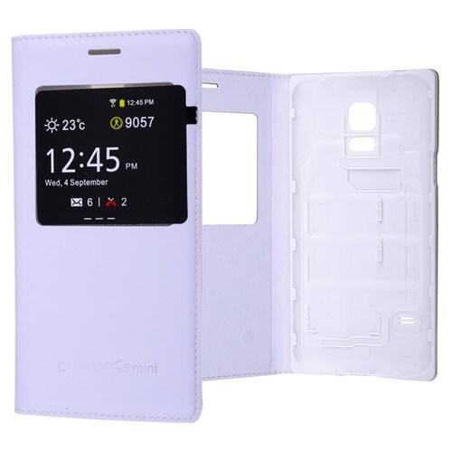 Ally Samsung Galaxy S5 Mini Mıknatıslı - Stand Ve Pencereli Flip Cover Kılıf