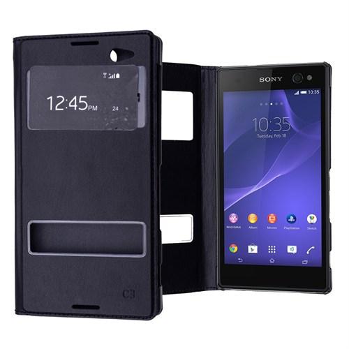 Ally Sony Xperia C3 Pencereli Flip Cover Kılıf