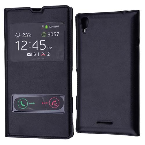 Ally Sony Xperia T3 Pencereli Flip Cover Kılıf
