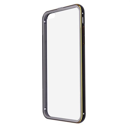Ally Apple İphone 6 Plus Metal Bumper Arka Korumalı Şeffaf Kapak Çerçeve Kılıf