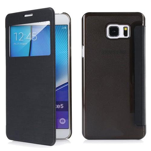 Ally Samsung Galaxy A8 Şeffaf Arka Kapaklı Pencereli Flip Cover Kılıf