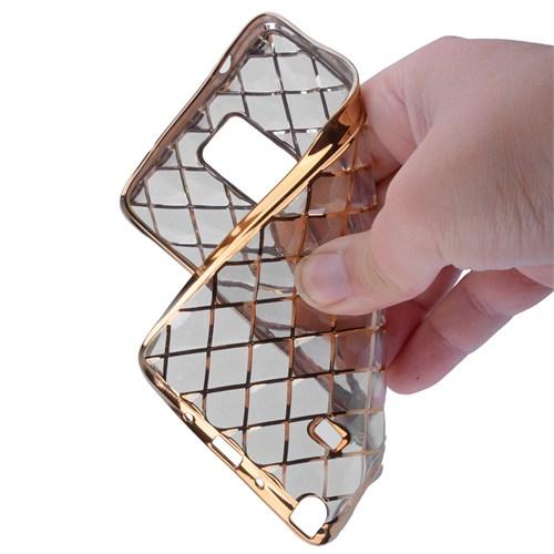 Ally Samsung Galaxy Note 4 Gold Metalik Darbe Emici Silikon Kılıf