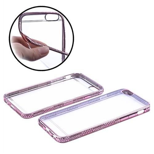 Ally İphone Apple 6/6S Plus Lazer Kaplama Ultra Slim Şeffaf Taşlı Silikon Kılıf