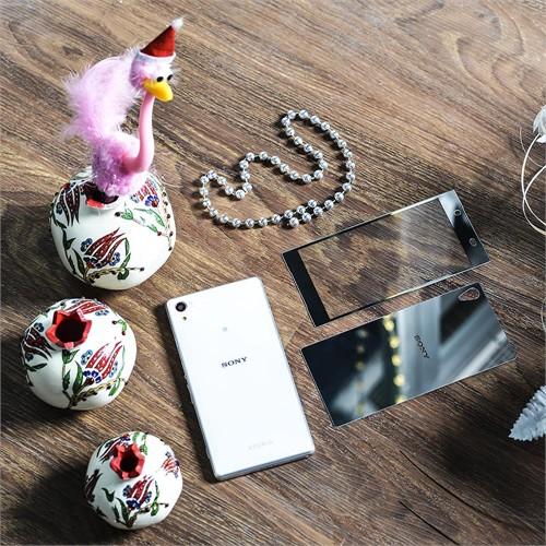 Ally Sony Xperia Z5 Renkli Aynalı Ön Ve Arka Kırılmaz Cam Ekran Koruyucu