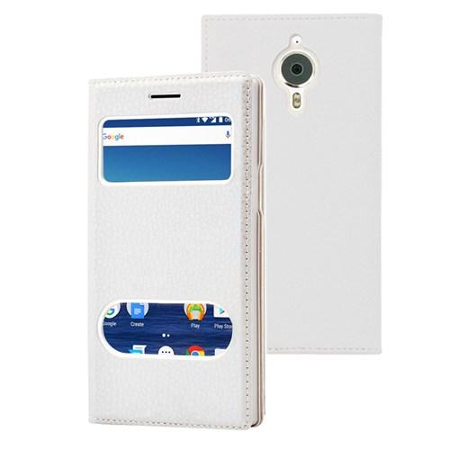 Microsonic General Mobile Gm5 Plus Kılıf Gizli Mıknatıslı Dual View Delux Beyaz