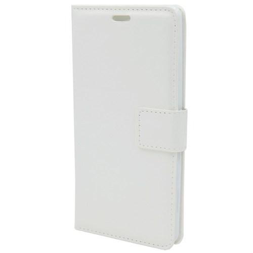 Kny Samsung Galaxy E5 Cüzdanlı Kapaklı Kılıf Beyaz+Kırılmaz Cam