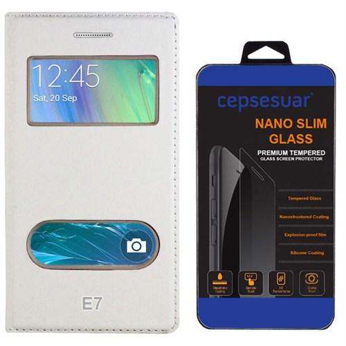Cepsesuar Samsung Galaxy E7 Kılıf Kapaklı Dolce Beyaz + Kırılmaz Cam