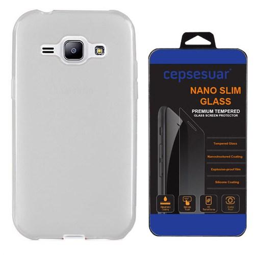 Cepsesuar Samsung Galaxy J1 Kılıf Silikon 0.2 Mm Şeffaf + Kırılmaz Cam