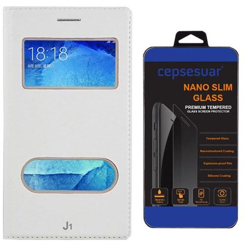 Cepsesuar Samsung Galaxy J1 Kılıf Kapaklı Dolce Beyaz + Kırılmaz Cam