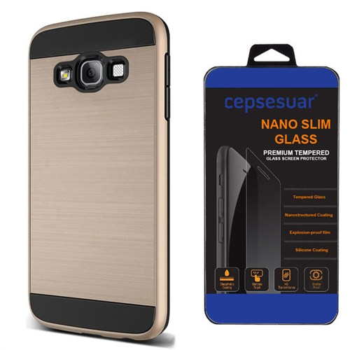 Cepsesuar Samsung Galaxy J1 2016 Kılıf Design Gold + Kırılmaz Cam