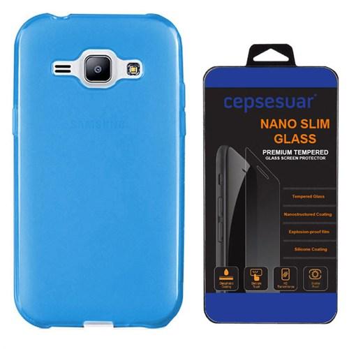 Cepsesuar Samsung Galaxy J1 Ace Kılıf Silikon 0.2 Mm Mavi + Kırılmaz Cam