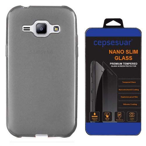 Cepsesuar Samsung Galaxy J1 Ace Kılıf Silikon 0.2 Mm Siyah + Kırılmaz Cam