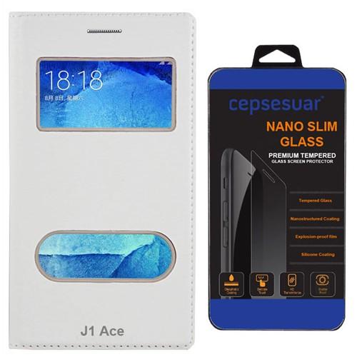 Cepsesuar Samsung Galaxy J1 Ace Kılıf Kapaklı Dolce Beyaz + Kırılmaz Cam