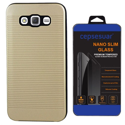 Cepsesuar Samsung Galaxy J2 Kılıf Youyou Gold + Kırılmaz Cam