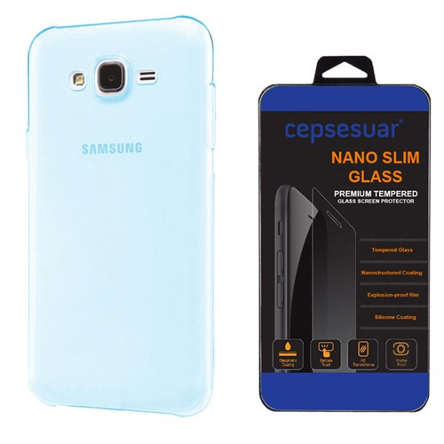 Cepsesuar Samsung Galaxy J3 Kılıf Silikon 0.2 Mm Mavi + Kırılmaz Cam