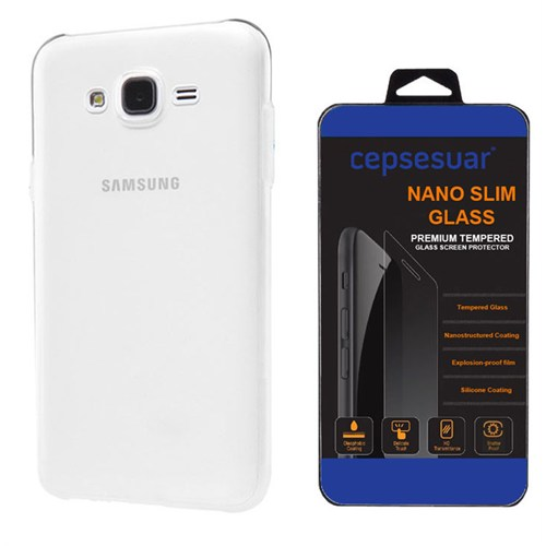 Cepsesuar Samsung Galaxy J5 Kılıf Silikon 0.2 Mm Şeffaf + Kırılmaz Cam