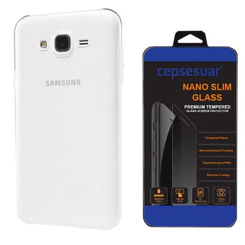 Cepsesuar Samsung Galaxy J7 Kılıf Silikon 0.2 Mm Şeffaf + Kırılmaz Cam