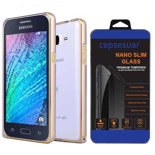 Cepsesuar Samsung Galaxy J7 Kılıf Bumper Gold + Kırılmaz Cam
