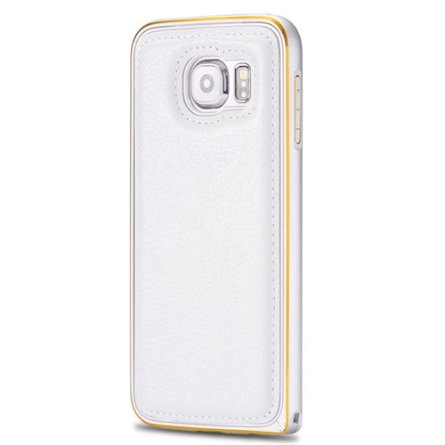 Cepsesuar Samsung Galaxy S6 Kılıf Arkası Deri Bumper Beyaz