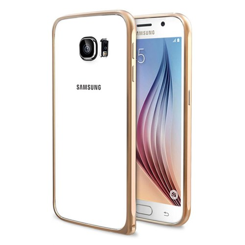 Cepsesuar Samsung Galaxy S6 Kılıf Bumper Gold