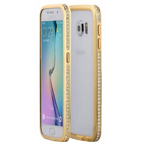 Cepsesuar Samsung Galaxy S6 Kılıf Taşlı Bumper Gold