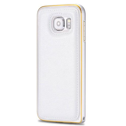 Cepsesuar Samsung Galaxy S6 Edge Kılıf Arkası Deri Bumper Beyaz