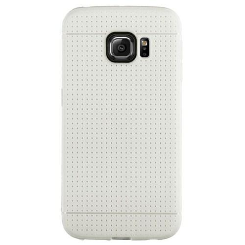 Cepsesuar Samsung Galaxy S6 Edge Kılıf Silikon Noktalı Beyaz