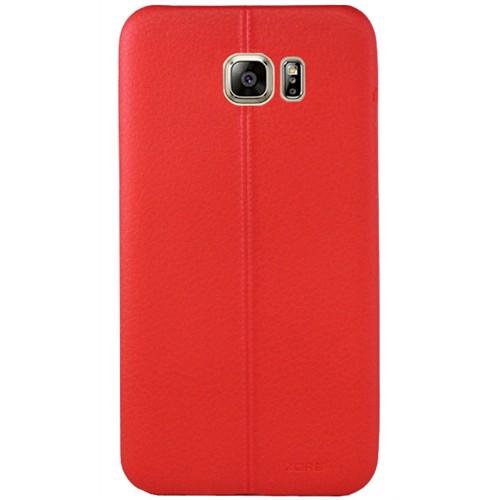 Cepsesuar Samsung Galaxy S6 Edge Kılıf Dikişli Kırmızı