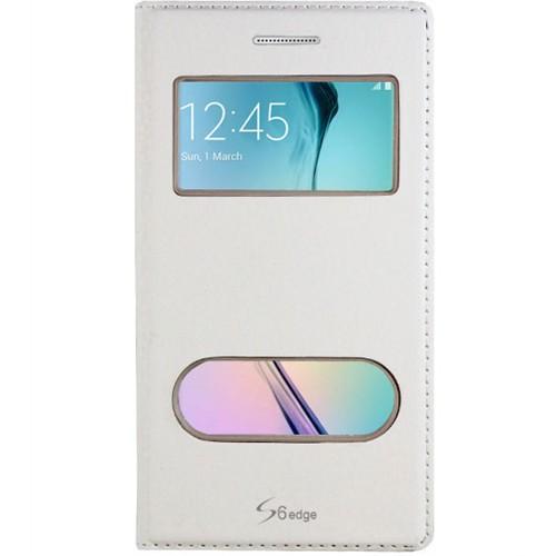 Cepsesuar Samsung Galaxy S6 Edge Kılıf Kapaklı Dolce Beyaz