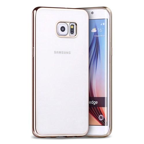 Cepsesuar Samsung Galaxy S6 Edge Kılıf Silikon Lazer Gold