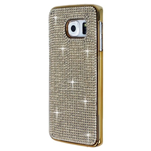 Cepsesuar Samsung Galaxy S6 Edge Kılıf Parlak Taşlı Gold