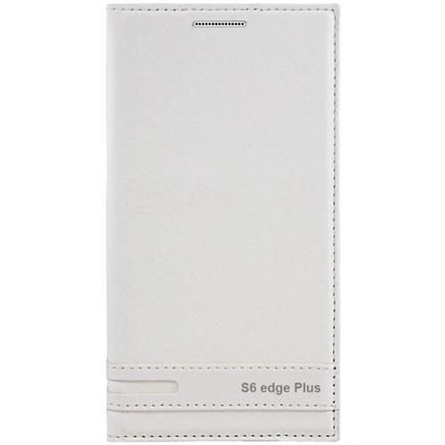 Cepsesuar Samsung Galaxy S6 Edge Plus Kılıf Elite Kapaklı Beyaz
