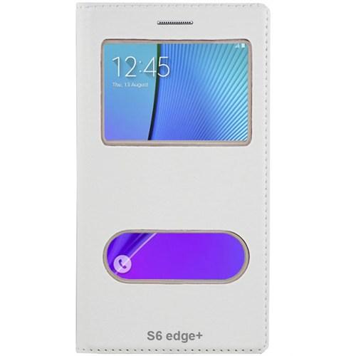 Cepsesuar Samsung Galaxy S6 Edge Plus Kılıf Dolce Kapaklı Beyaz