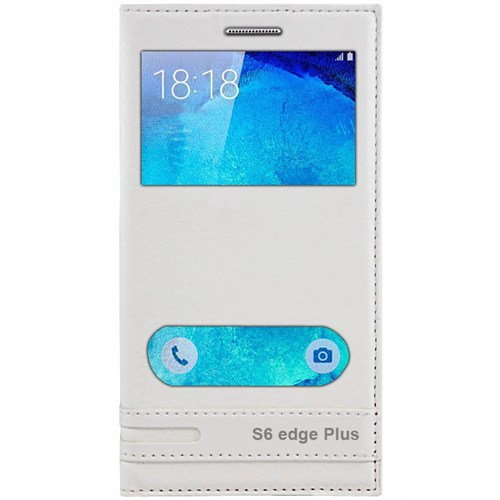 Cepsesuar Samsung Galaxy S6 Edge Plus Kılıf Elite Pencereli Beyaz