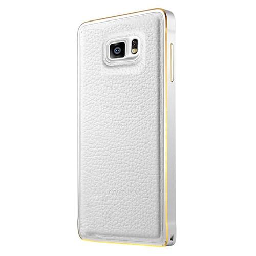 Cepsesuar Samsung Galaxy Note 5 Kılıf Arkası Deri Bumper Beyaz