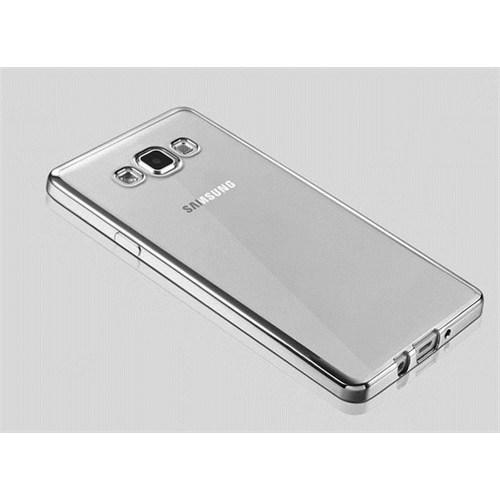 Cepsesuar Samsung Galaxy A7 Kılıf Silikon Lazer Gümüş