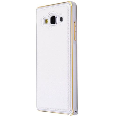Cepsesuar Samsung Galaxy A3 Kılıf Arkası Deri Bumper Beyaz