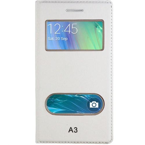 Cepsesuar Samsung Galaxy A3 Kılıf Kapaklı Dolce Beyaz