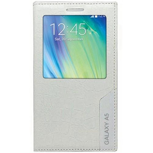 Cepsesuar Samsung Galaxy A5 Kılıf Rock Kapaklı Beyaz