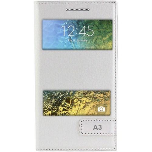 Cepsesuar Samsung Galaxy A3 Kılıf Pencereli Safir Beyaz