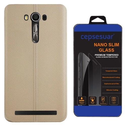 Cepsesuar Asus Zenfone 2 Laser Ze500kl 5 İnç Kılıf Silikon Dikişli Bej + Kırılmaz Cam