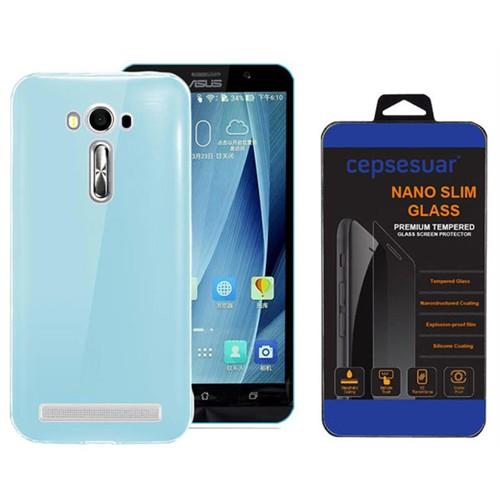 Cepsesuar Asus Zenfone 2 Laser Ze550kl 5.5 İnç Kılıf Silikon 0.2 Mm Mavi + Kırılmaz Cam