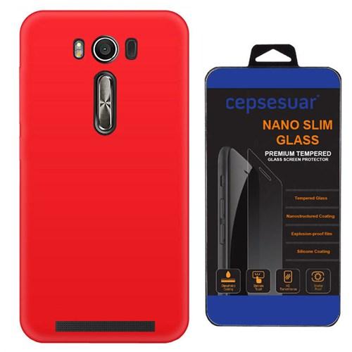 Cepsesuar Asus Zenfone 2 Laser Ze550kl 5.5 İnç Kılıf Silikon Kırmızı + Kırılmaz Cam