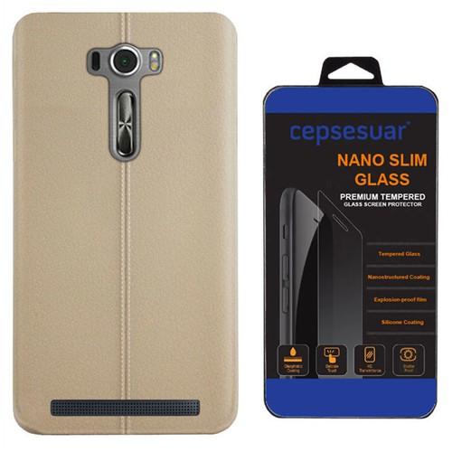 Cepsesuar Asus Zenfone 2 Laser Ze601kl 6 İnç Kılıf Silikon Dikişli Bej + Kırılmaz Cam