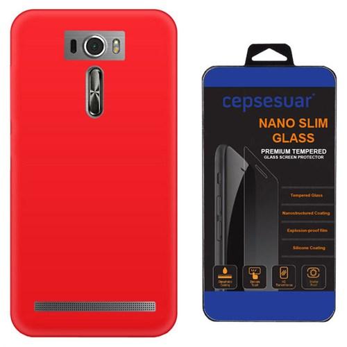 Cepsesuar Asus Zenfone 2 Laser Ze601kl 6 İnç Kılıf Silikon Kırmızı + Kırılmaz Cam