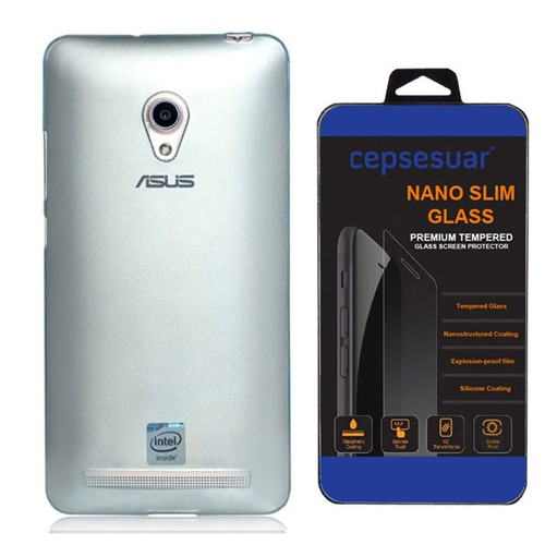 Cepsesuar Asus Zenfone 5 Kılıf Silikon 0.2 Mm Mavi + Kırılmaz Cam