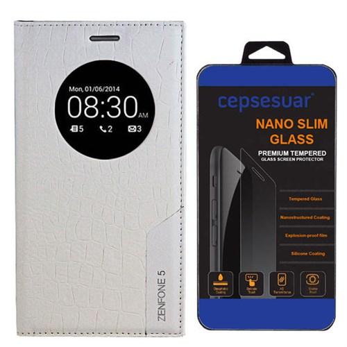Cepsesuar Asus Zenfone 5 Kılıf Rock Kapaklı Beyaz + Cam
