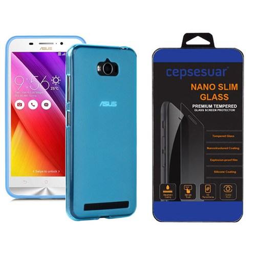 Cepsesuar Asus Zenfone Max Kılıf Silikon 0.2 Mm Mavi + Kırılmaz Cam