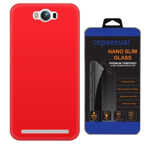 Cepsesuar Asus Zenfone Max Kılıf Silikon Kırmızı + Kırılmaz Cam